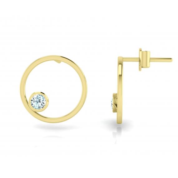 Boucles d'oreilles sunshine en argent plaqué or jaune 18 carats et topazes bleues