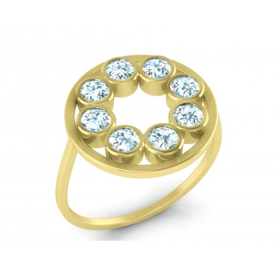 bague sunshine en argent massif 925 plaqué or jaune 18 carats et topazes bleues
