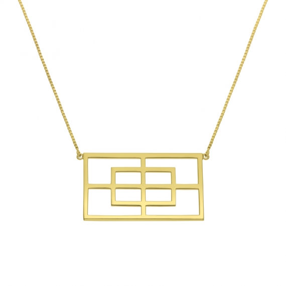 Collier rectangle reflet argent