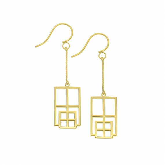 Boucles d'oreilles rectangle reflet vermeil jaune