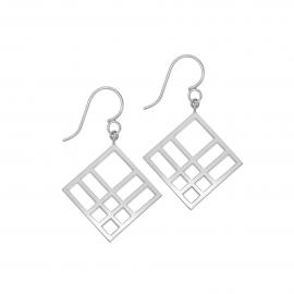 Boucles d'oreilles carrées reflet argent