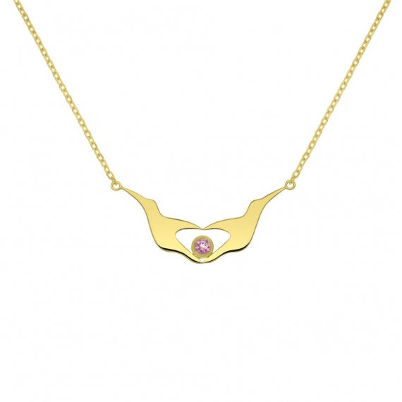 Collier L'envol-coeur en argent massif plaqué or jaune 18 carats
