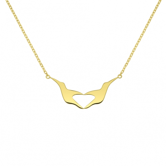 L'envol-coeur necklace in 18 carats yellow gold plated sliver