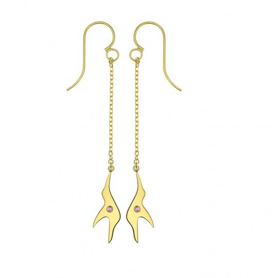 Boucles d'oreilles L'envol en argent plaqué or jaune 18 carats