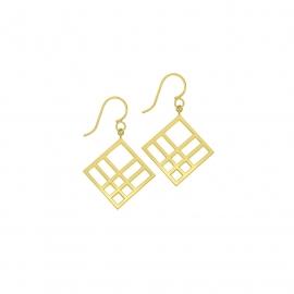 Boucles d'oreilles carrées reflet vermeil jaune