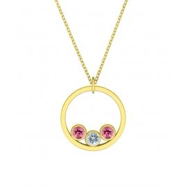 Collier sunshine - argent plaqué or jaune, tourmaline rose et topaze