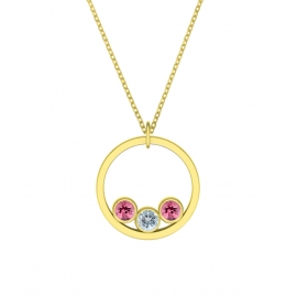 Sunshine necklace - Yellow gold plated silver, pink tourmaline & topazes