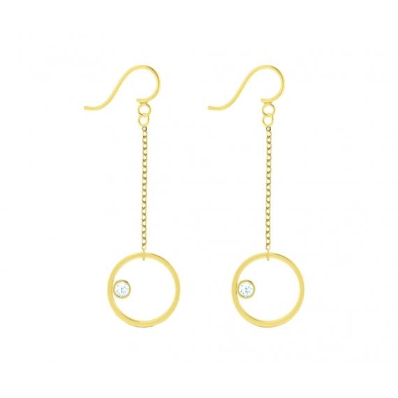 Boucles d'oreilles sunshine en argent massif plaqué or jaune 18 carats et topazes bleues