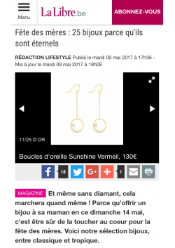 sunshine earrings in the happy mother's day selection of la libre belgique