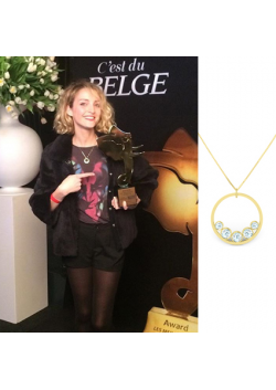 Stephanie Crayencour wearing our sunshine necklace during the Paris Match and C'est du belge night